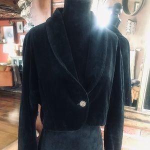 Black Velvet Crop Blazer
